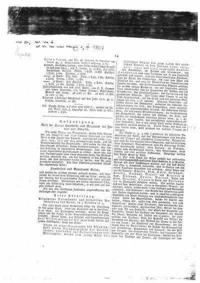 Humboldt, Alexander von; Gilbert, Ludwig Wilhelm: Ankündigung. Reise der Herren Humboldt und Bonpland ins Innere von Amerika. In: Morgenblatt für gebildete Stände, Nr. 100 (1807), S. 14-16.