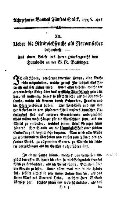 Humboldt, Alexander von: Ueber die Rindviehseuche als Nervenfieber behandelt. In: Neues Magazin für Aerzte. Bd. 18, 5. St., 1796, S. 421-425.