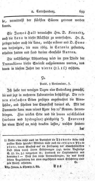 Humboldt, Alexander von: [H. an Alexander Scherer]. In: Allgemeines Journal der Chemie, Bd. 1, H. 6 (1798), S. 699-700.