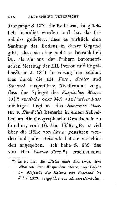 Humboldt, Alexander von: [Schreiben an die Geographische Gesellschaft zu London]. In: Taschenbuch zur Verbreitung geographischer Kenntnisse. Hrsg. von Johann Gottfried Sommer. Prag, 1839, S. CXX-CXXIII.