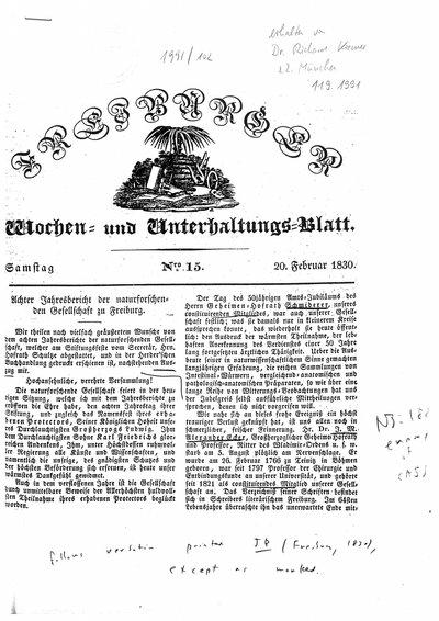 Humboldt, Alexander von: [Humboldt an Schultze, Secretär der naturforschenden Gesellschaft zu Freiburg]. In: Freiburger Wochen- und Unterhaltungsblatt, Nr. 15 (1830), S. [59]-61.