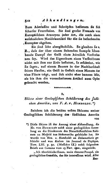 Humboldt, Alexander von: Skizze einer Geologischen Schilderung des südlichen Amerika. In: Allgemeine Geographische Ephemeriden. Bd. 9 (1802) St. 4, S. 310-329.