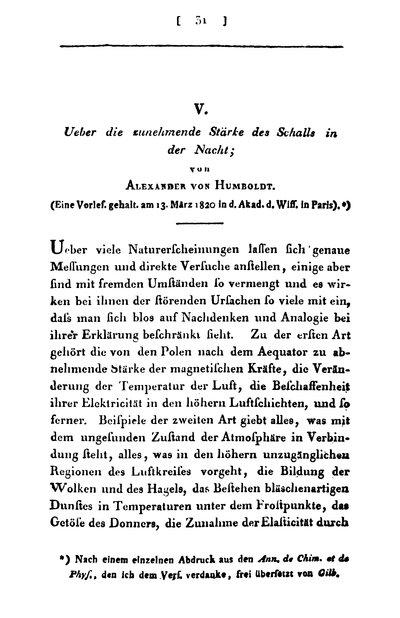 Humboldt, Alexander von: Über die zunehmende Stärke des Schalls in der Nacht. In: Annalen der Physik, Bd. 65 (1820), S. 31-42.