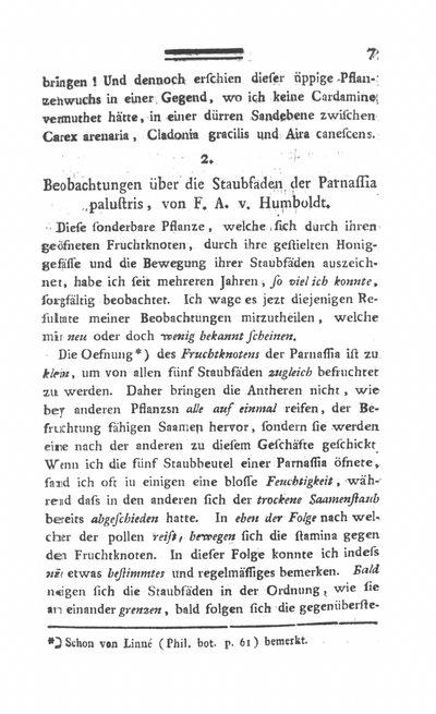 Humboldt, Alexander von: Beobachtungen über die Staubfäden der Parnassia palustris. In: Annalen der Botanick, Bd. 1 (1792), S. 7-9.