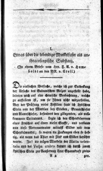 Humboldt, Alexander von: Etwas über die lebendige Muskelfaser als anthracoscopische Substanz. In: Chemische Annalen für die Freunde der Naturlehre, Arzneygelahrtheit, Haushaltungskunst und Manufakturen, Bd. 2, St. 7 (1795), S. 3-5.