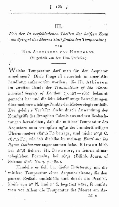 Humboldt, Alexander von: Von der in verschiedenen Theilen der heissen Zone am Spiegel des Meeres Statt findenden Temperatur. In: Annalen der Physik und Chemie 8. (1826) St. 2, S. 165-175.