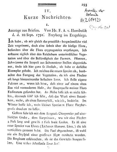 Humboldt, Alexander von: Auszüge aus Briefen an den Herausgeber [Usteri]. In: Annalen der Botanick, Bd. 1, St. 2 (1791) S. 193.
