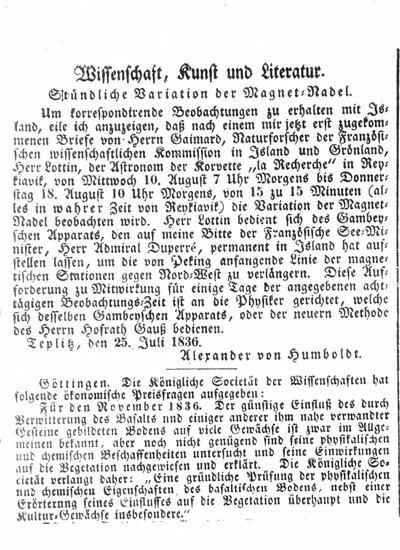 Humboldt, Alexander von: Stündliche Variation der Magnet-Nadel. In: Allgemeine Preußische Staats-Zeitung, Nr. 209 (1836), S. 858.
