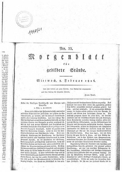 Humboldt, Alexander von: Ueber die künftigen Verhältnisse von Europa und Amerika. In: Morgenblatt für gebildete Stände, Nr. 33 (1826), S. 129-130 und Nr. 34 (1826), S. 134-135.