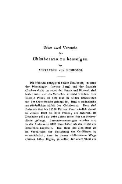 Humboldt, Alexander von: Ueber zwei Versuche den Chimborazo zu besteigen. In: Jahrbuch für 1837. Herausgegeben von H. C. Schumacher. Stuttgart und Tübingen, 1837, S. 176-206.