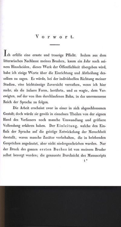 Humboldt, Alexander von: Vorwort. In: Humboldt, Wilhelm von: Über die Kawi-Sprache auf der Insel Java. Bd. 1. Berlin, 1836, S. [III]-X