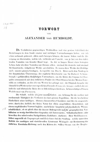 Humboldt, Alexander von: Vorwort von Alexander von Humboldt. In: Möllhausen, Balduin: Tagebuch einer Reise vom Mississippi nach den Küsten der Südsee. Leipzig, 1858, S. [I]-VIII.