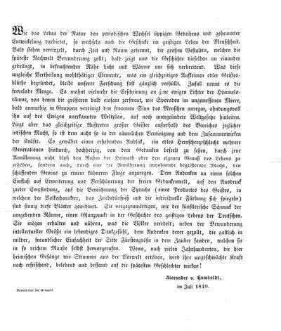 Humboldt, Alexander von: [Vorwort zu dem Gedenkbuch der Prinzessin von Preußen für die Dichterzimmer im Weimarer Schlosse]. In: Separatum/Manuscript für Freunde. [s. l.], 1849, 1 Bl.