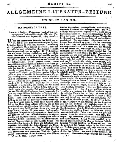 Humboldt, Alexander von: [Rezension zu:] Widenmann's Handbuch des oryktognostischen Theils der Mineralogie. In: Allgemeine Literatur-Zeitung, Bd. 2, Nr. 124 (1795), Sp. 225-229.