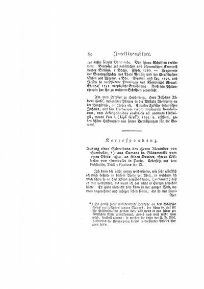 Humboldt, Alexander von: Auszug eines Schreibens des Herrn Alexander v. Humboldt aus Cumaná in Südamerika vom 17ten Oktobr. 1800, an seinen Bruder, Herrn Wilhelm von Humboldt in Paris. In: Neue allgemeine deutsche Bibliothek, Bd. 58 (1801), S. 60-64.