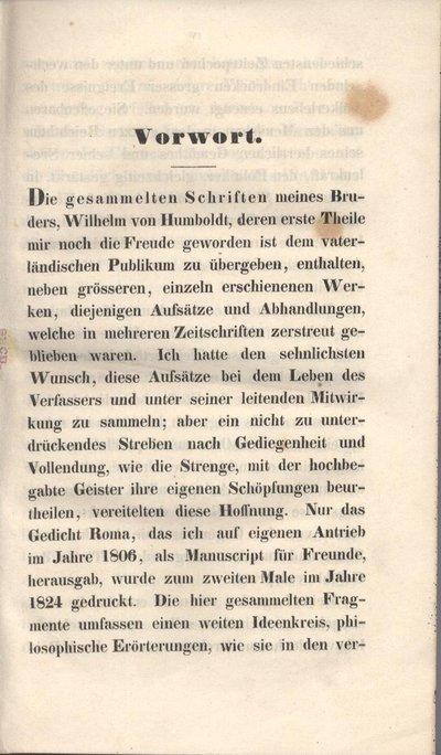 Humboldt, Alexander von: Vorwort. In: Humboldt, Wilhelm von: Gesammelte Werke. Bd. 1. Berlin, 1841, S. III-VI.