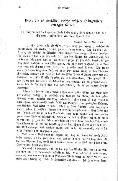 Humboldt, Alexander von: Ueber die Winterkälte, welche größere Säugethiere ertragen können. Bemerkungen des Herrn Al. von Humboldt. In: Zeitschrift für allgemeine Erdkunde. Bd. 3, 43 (1854), S. 43.