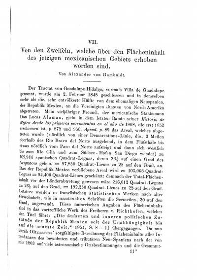 Humboldt, Alexander von: Von den Zweifeln, welche über den Flächeninhalt des jetzigen mexicanischen Gebiets erhoben worden sind. In: Zeitschrift für allgemeine Erdkunde, Bd. 4 (1858), S. [169]-172.
