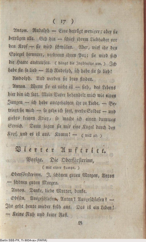 Deutsches Textarchiv Iffland August Wilhelm Die Jäger