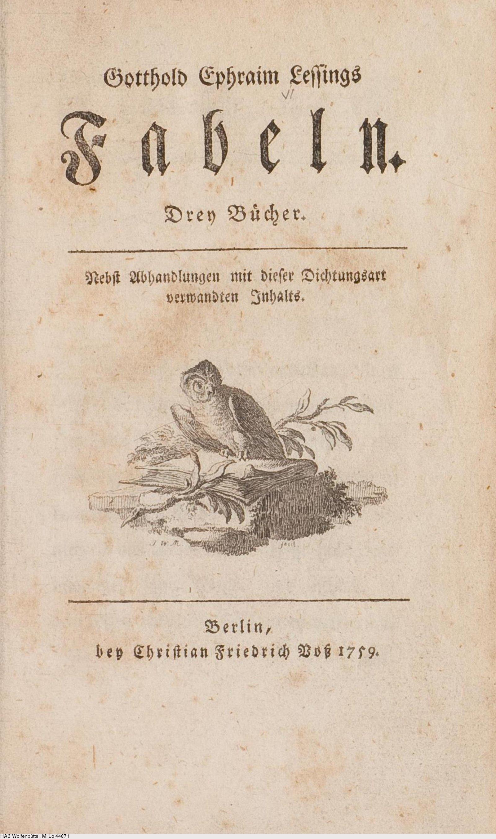 Deutsches Textarchiv – Lessing Gotthold Ephraim Fabeln Berlin 1759