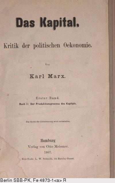 Deutsches Textarchiv Marx Karl Das Kapital Buch I Der