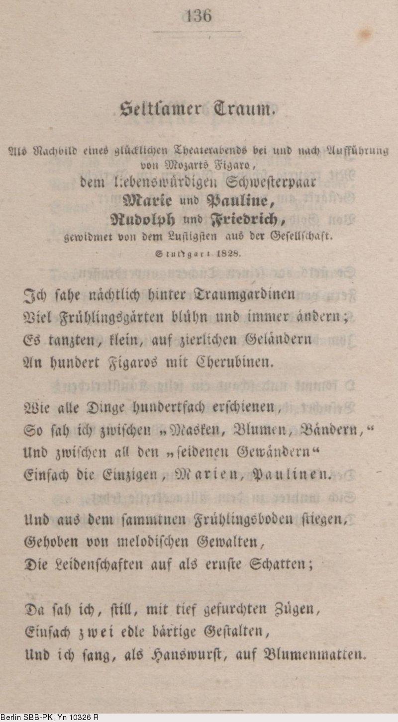 Deutsches Textarchiv Mörike Eduard Gedichte Stuttgart
