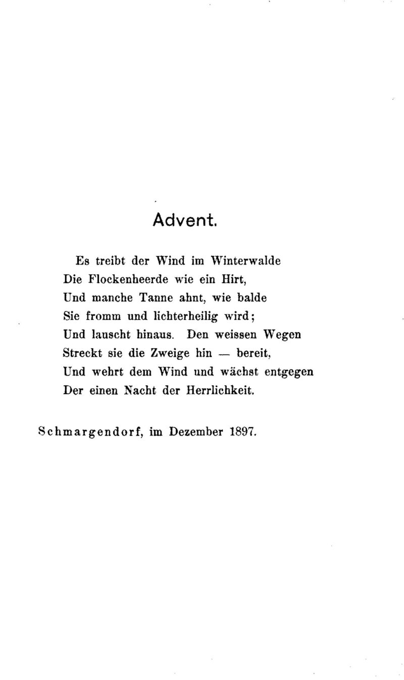 Deutsches Textarchiv Rilke Rainer Maria Advent Leipzig