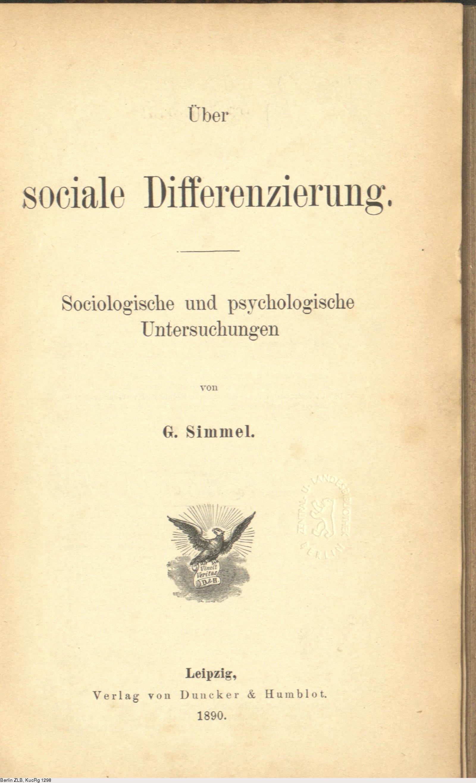 Deutsches Textarchiv Simmel Georg über Sociale Differenzierung