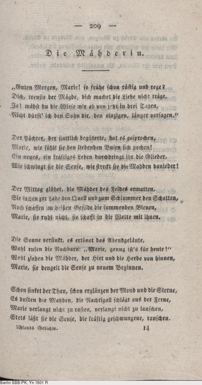 Deutsches Textarchiv Uhland Ludwig Gedichte Stuttgart
