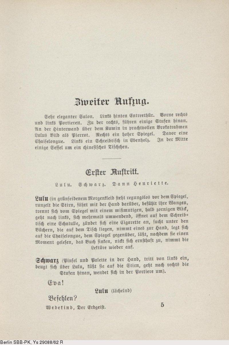 Deutsches Textarchiv – Wedekind, Frank: Erdgeist. Paris; Leipzig, 1895.