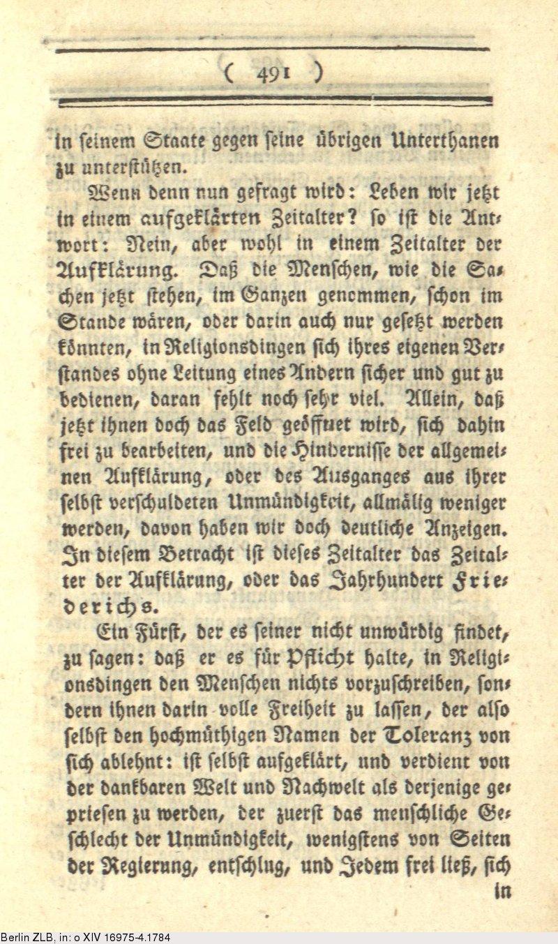 deutsches textarchiv - kant, immanuel: beantwortung der